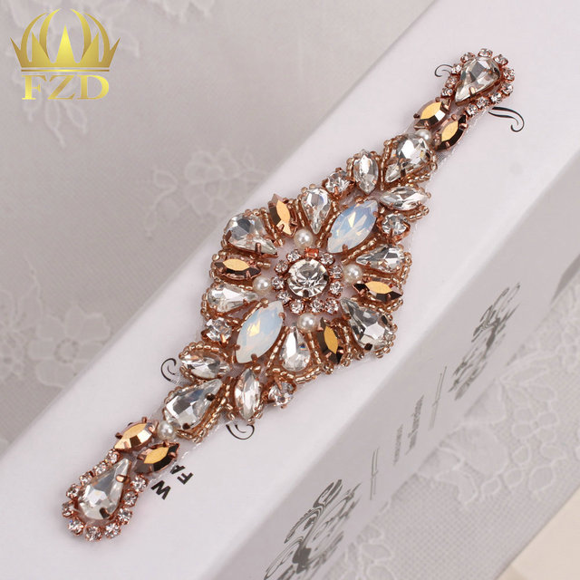(30pieces) Wholesale Handmade Hot Fix Sewing Rose Gold Beaded Bridal Sash  Rhinestone Applique for 595cbe9860b4