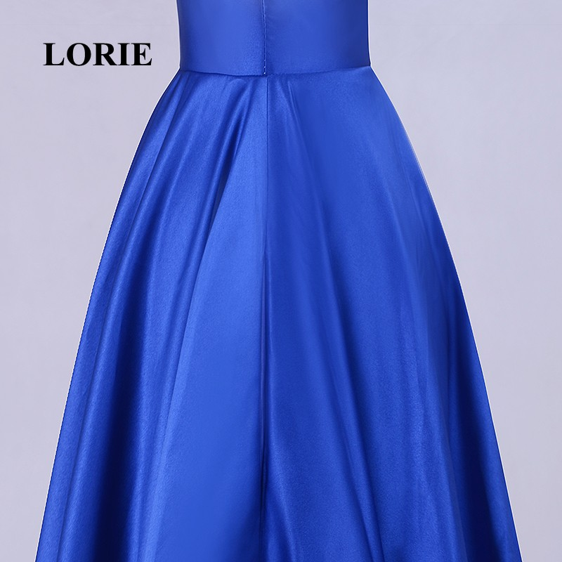 7399a619e0 LORIE Evening Party dress for Graduation Halter Beaded A Line Royal Blue  Prom Dress Satin Floor Length Special Occasion Gowns -in Evening Dresses  from ...