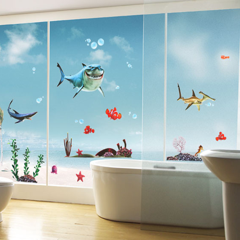 Hot Sell Favorite Kids Nemo Shark Sticker Waterproof Wallpaper For Bathrooms Shower Glass Door Wall Decal XY8078 In Stickers From Home