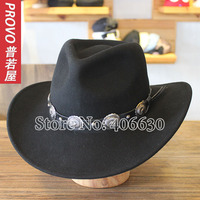 Winter Wide Brim Black Wool Western Cowboy Hats For Men Chapeu Masculino Felt Fedora Hats Panama