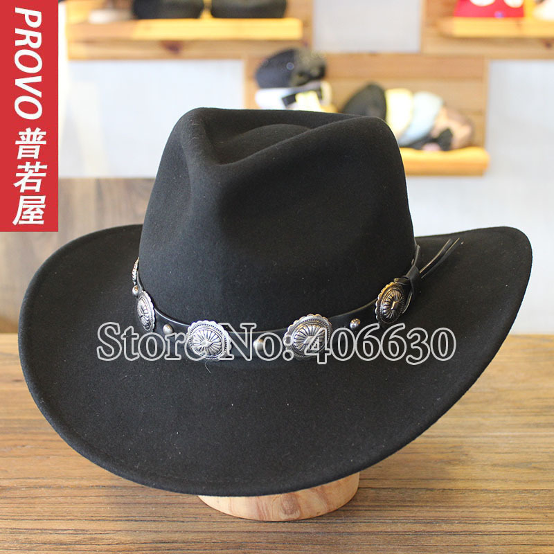 цены Winter Wide Brim Black Wool Western Cowboy Hats For Men Chapeu Felt Fedora Hats Free Shipping PWFE-040