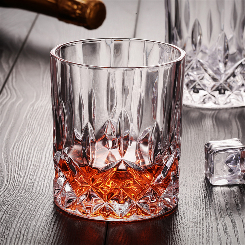 Bling Diamond Whisky Glass Ultra Clear Like Crystal Durable Lead-Free Wine Beer Brandy Drinking for Home Bar Party Wedding 250ml