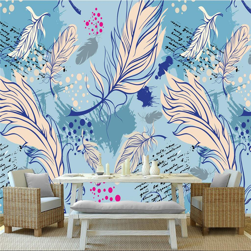 Blue Wallpaper Custom Dream Hand Painted Feather Photo Wall Mural Embossed TV Background 3d Wallpaper Living Room Restaurant custom photo wallpaper hand painted japanese cuisine sushi wooden background wallpaper restaurant kitchen custom mural