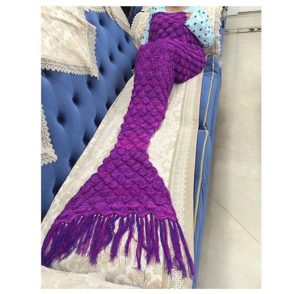 Gland tricoté sirène queue couverture à la main Crochet adulte couvre lit sac de couchage écharpe enfants couvre lit sac de couchage couverture jeter