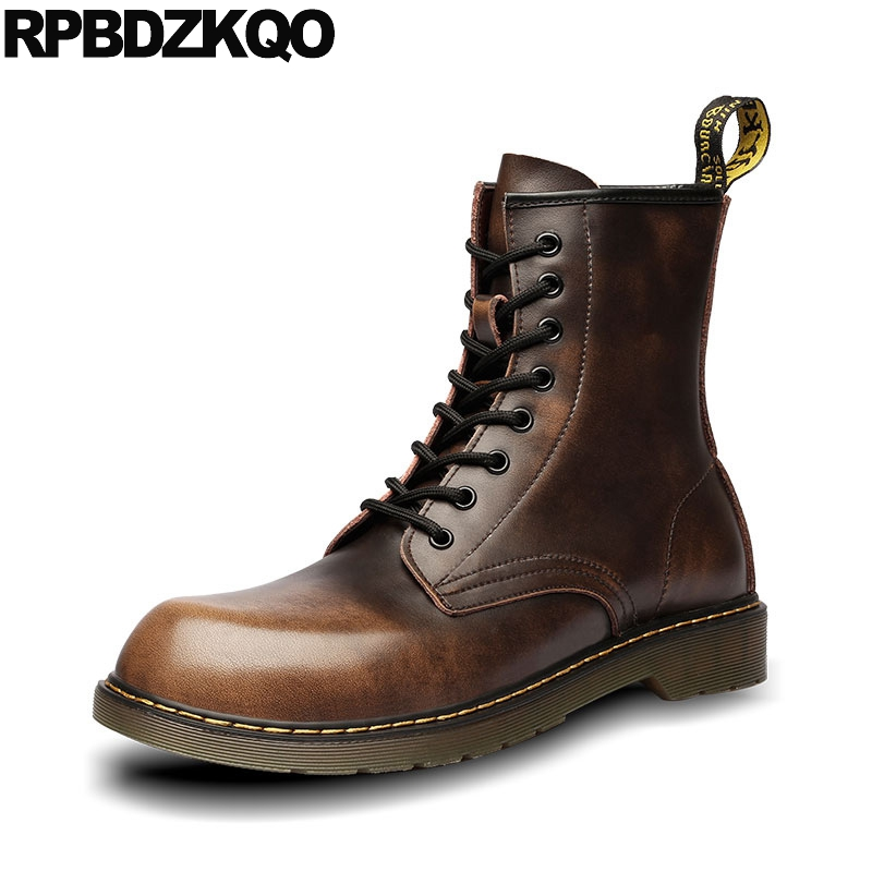 Retro Combat Boots High Top Shoes Booties Winter Ankle Lace Up 2017 Army Brown Footwear Casual Military Tall Male Fashion Short mens winter boots warm military mid calf durable army 2017 fashion combat motorcycle high top shoes lace up autumn black male