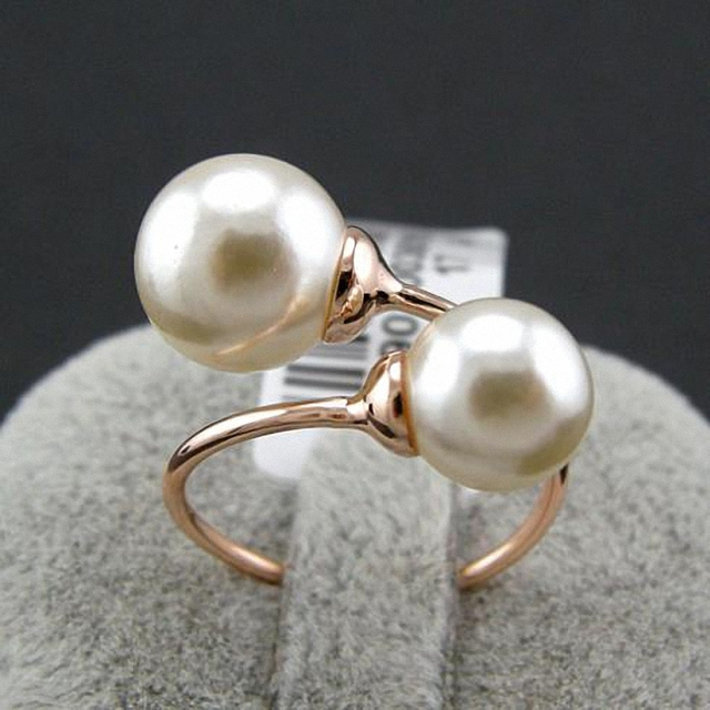 New Sale Brand TracysWing Rings for women Rose gold Color simulated pearl Rings