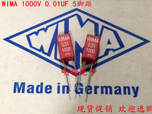 2019 hot sale 10pcs/20pcs WIMA Capacitor MKP2 1000V 0.01UF 103 1000V 10nf 1KV P: 5mm Audio capacitor free shipping 2019 hot sale 10pcs 20pcs germany wima mkp10 1000v 0 0033uf 3300pf 1000v 332 p 10mm audio capacitor free shipping