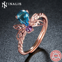 Lovely Bee Design Rose Gold Color 925 Sterling Silver Adjustable Rings For Women Bridal Wedding Engagement