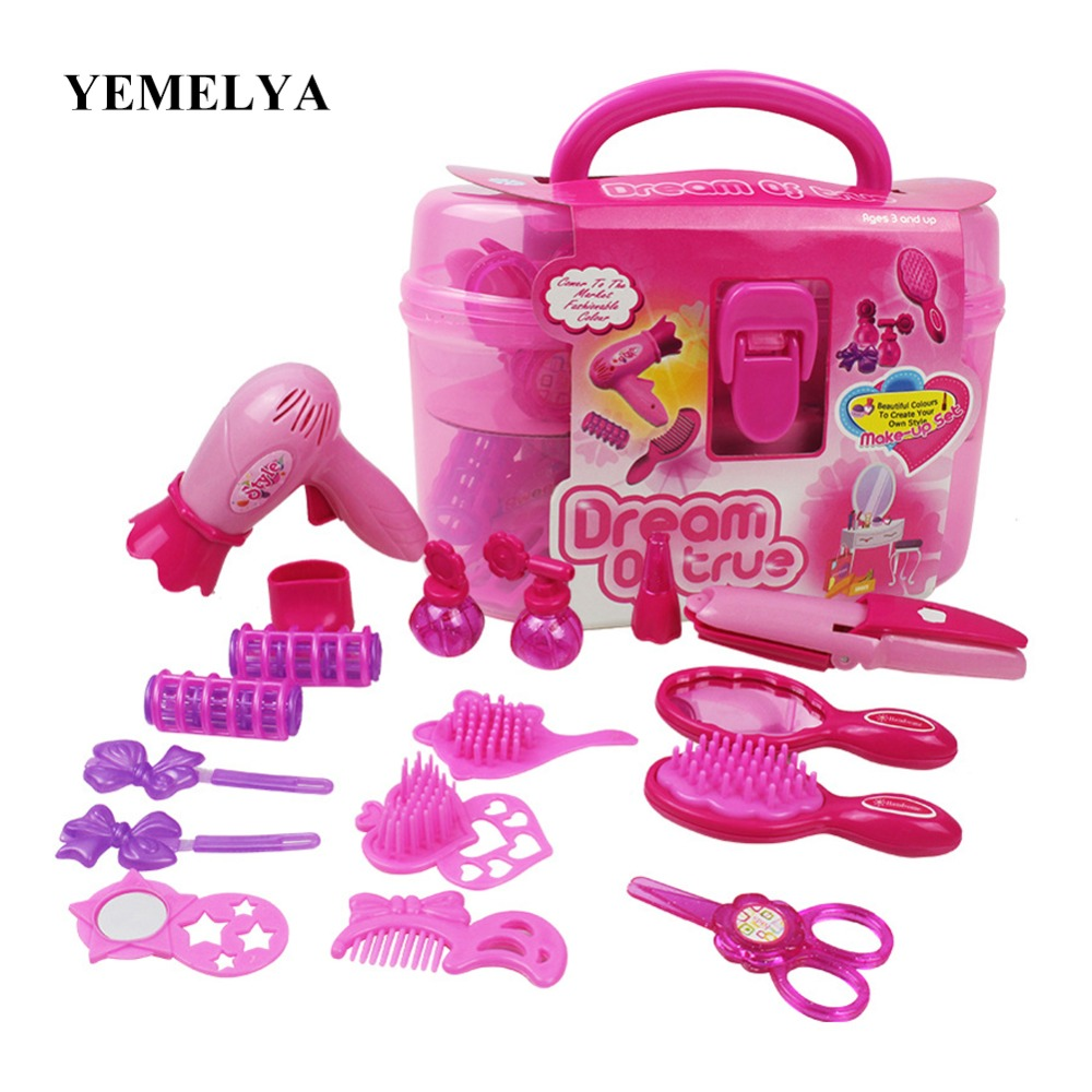 childrens simulation beauty salon Makeup toys Makeup Hair Dryer girl gift Little Cosmeti ...