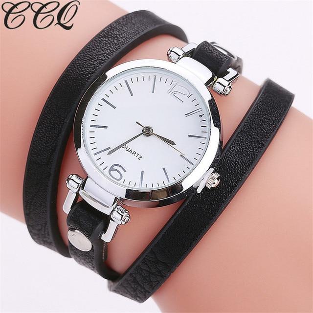 d84f3e4c116 CCQ Moda Luxo Pulseira de Couro Relógio de Quartzo Das Senhoras Assistir  Mulheres Casuais Relógio de