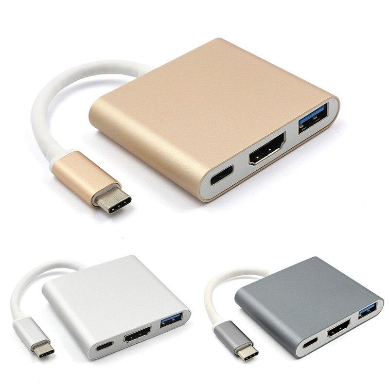Type C USB 3.1 à USB-C 4 K HDMI USB3.0 Adaptateur 3in1 Hub Pour Apple Macbook USB 3.1 Type C HDMI Adaptateur HUB
