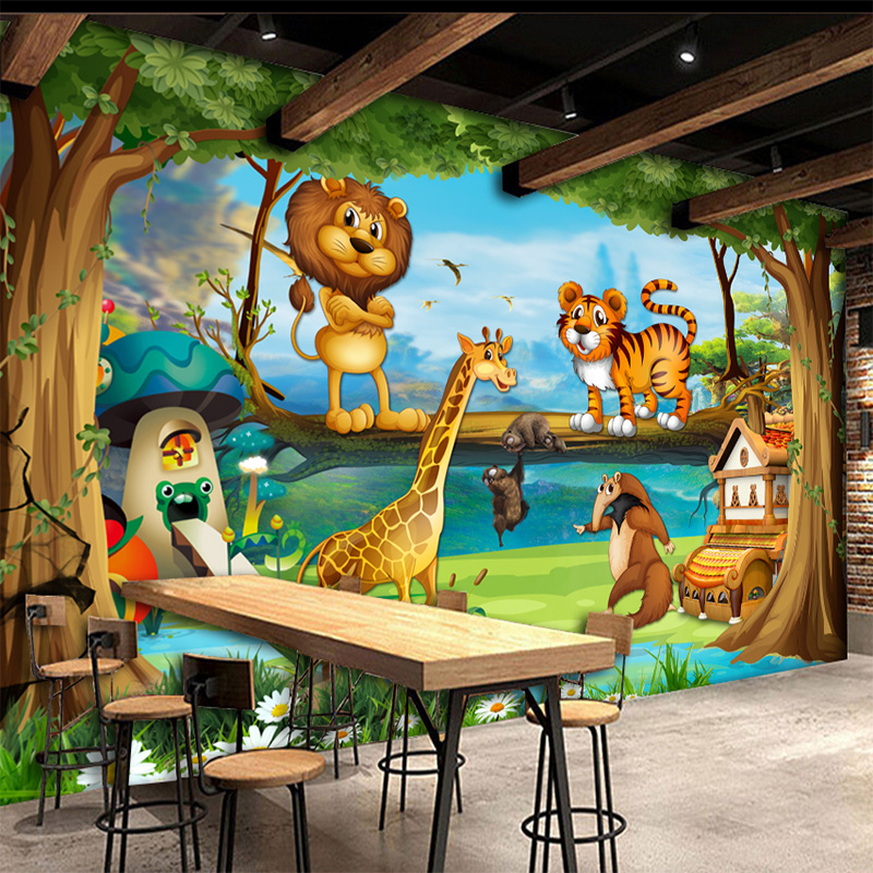 Custom Mural Children's Room Bedroom Beautiful Cartoon Forest Background Picture Wall Decor Kid Wallpaper Volume Wall Painting