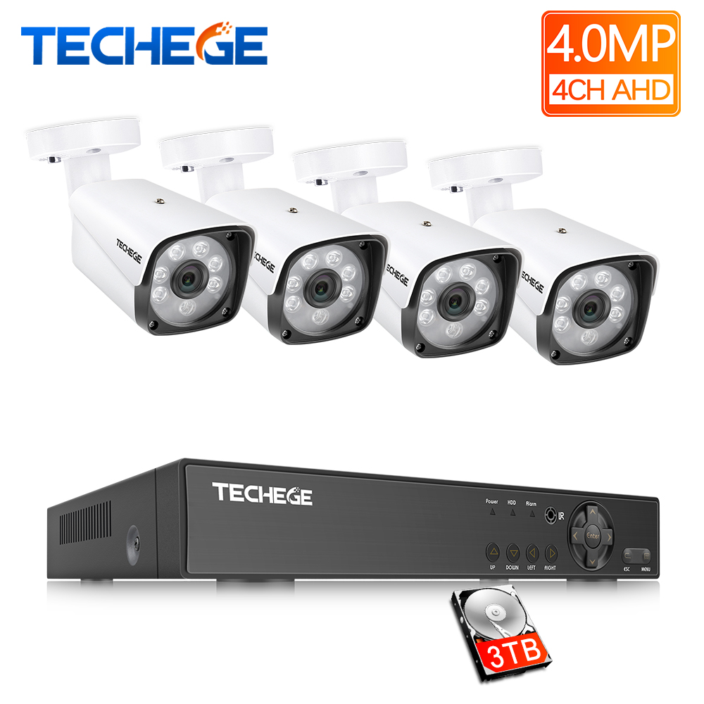 Techege 4MP CCTV Surveillance Kit 4CH DVR 1080P 2K Video Output 4mp 2560 1440 Security AHD