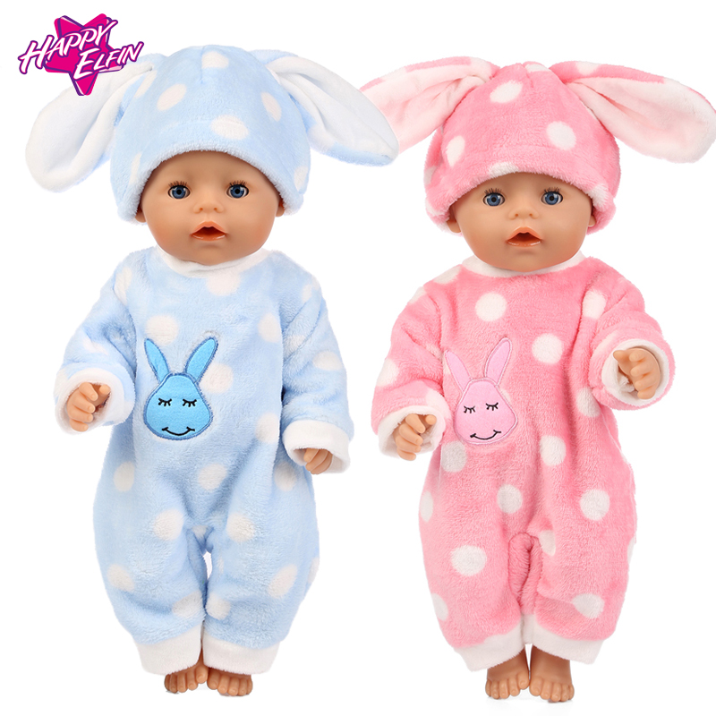 2color choose Rabbit pajamas clothes Wear fit 43cm Baby Born zapf Doll Clothes Children best Birthday Gift