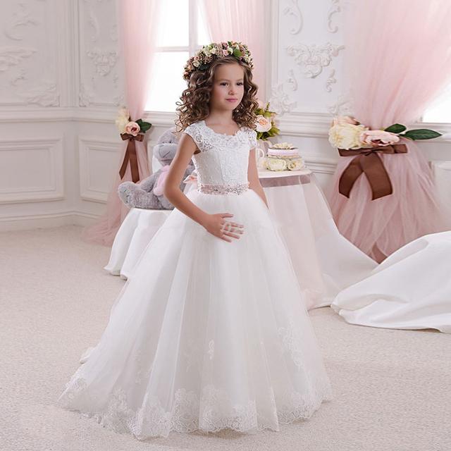 2016 Hot Branco Da Menina de Flor Vestidos para Casamentos Adorável Lace Bow Meninas Vestidos Pageant Primeira Comunhão Vestidos para Meninas