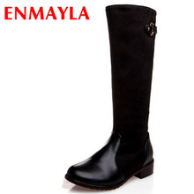 ENMAYER  new Sale women boots zipper Fashion platform Snow Boots Women Over-The-Knee motorcycle Boot Warm Shoes long boots jookrrix 2017 new autumn winter over the knee lady platform boot zipper british style shoe women cross tied boot black warm boot