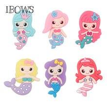 10 pcs/lot Rubber Cartoon Mermaid Patches Miniature Handmade Decoration DIY Hair Bow Flat Back  Embellishment Accessories