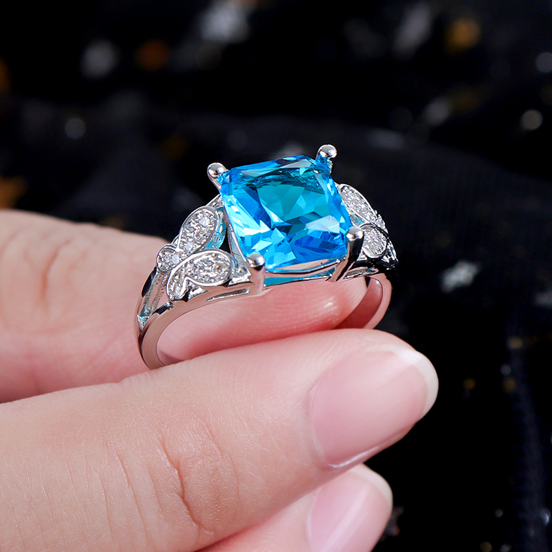 MISANANRYNE Wedding Ring Big square crystal Blue Stone Rings 8 colors optional For Women Fashion Jewelry