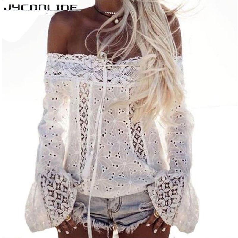 Jyconline sexy hombro encaje blusa de las mujeres camisas blusas blusa blanca to