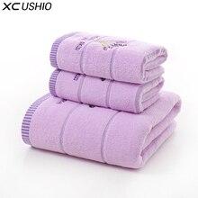 XC Ushio 3 шт./компл. хлопок лаванда набор полотенец One Piece 70*140 см банное полотенце два куска 34*75 см лицо полотенца подарочный набор полотенец