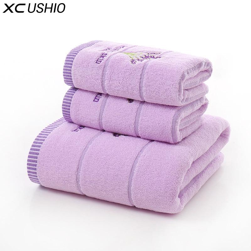XC USHIO 3PCS/Set 100% Cotton Lavender Towel Set One Piece 70*140cm Bath Towel Two Pieces 34*75cm Face Towels Gift Towel Set