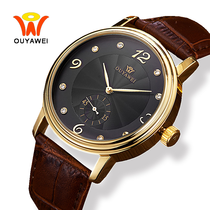 Ouyawei Luxury Business Automatic Leather Watch Men Black 40MM Dial Mens Mechanical Self Winding Wrist Watches For Fashion Man