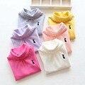 Ropa de los niños niñas nuevas camisetas de cuello alto que basa las camisetas de las muchachas resorte de la ropa interior del otoño del algodón sólido de manga larga camiseta cuello alto amarilla