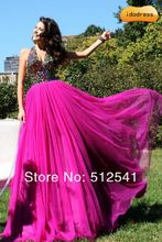 TOP Open Back Prom Dresses 2015 A-line V-neck Chiffon Rhinestone dress new fashion 2014 yk-8K037