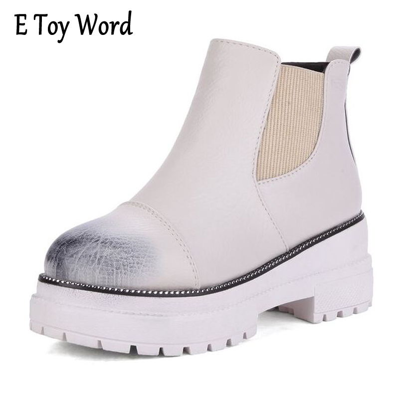 E TOY WORD Autumn Boots Women 2017 New Fashion Wipe Color Sexy Women Ankle Boots for Woman Non-slip Punk Platform Women Shoes segal business writing using word processing ibm wordstar edition pr only