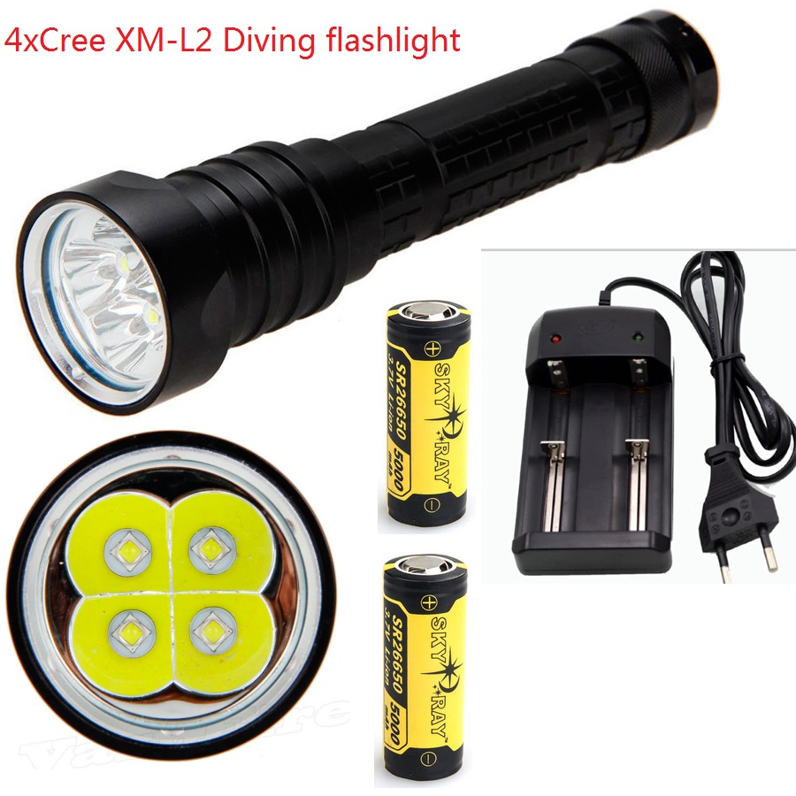 7000 Lumens Underwater Stepless Diving Flashlight Torch 4x CREE XM-L L2 LED Waterproof Scuba Dive Lamp+2x 26650 Battery+Charger scuba diving flashlight dx4s underwater hunting torch waterproof dive lamp 4x cree xm l2 white light 18650 26650 led torch