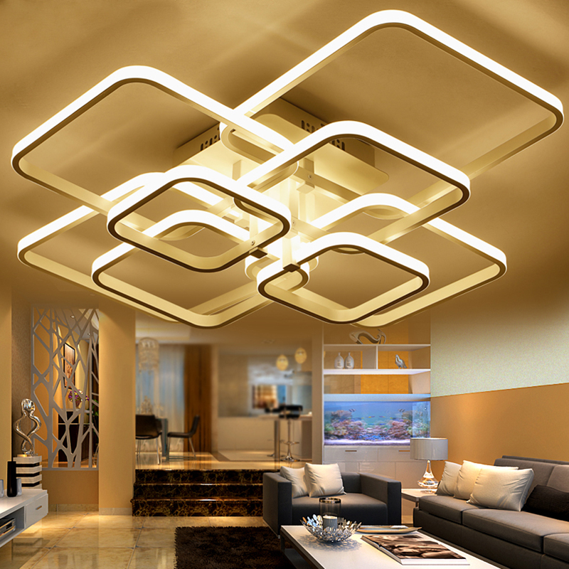 Modern LED ceiling lights for living room bedroom indoor home AC85-365 Square acrylic aluminum body LED ceiling lamp Fixtures square led modern ceiling lights fixtures for living room aluminum white lamp bedroom touch remote control dimmable restaurant