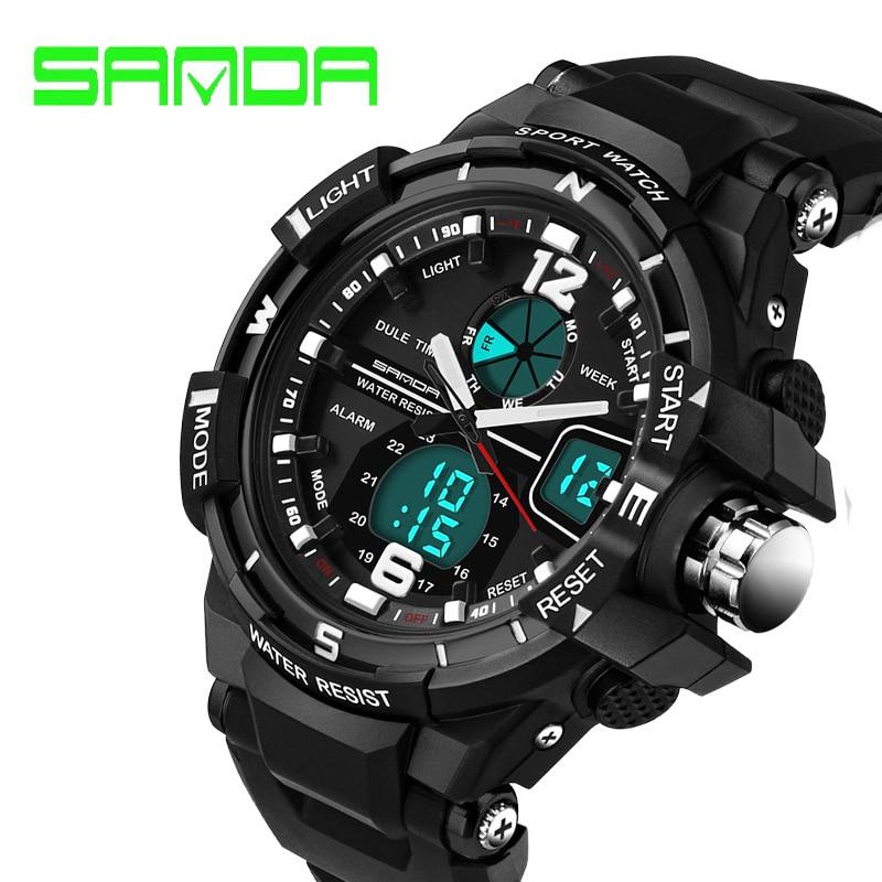 2017 Nueva Promoción de la Marca Sanda Hombres Del Reloj de Moda G Estilo Impermeable Militar Deportes Relojes de Choque de Lujo Analógico Digital