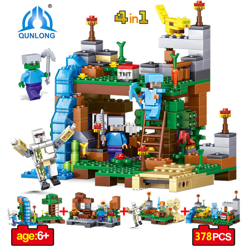 Qunlong Toy Minecrafted Figures Building Blocks 4 in 1 DIY Garden Bricks Toy Gift For Kid Compatible With Legoe Minecraft City