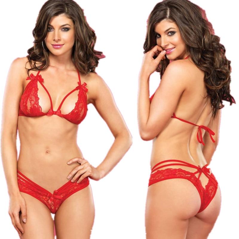 7Fq71 Lace Red Shelf Bra Underwear Set Exotic Apparel Lace -1090