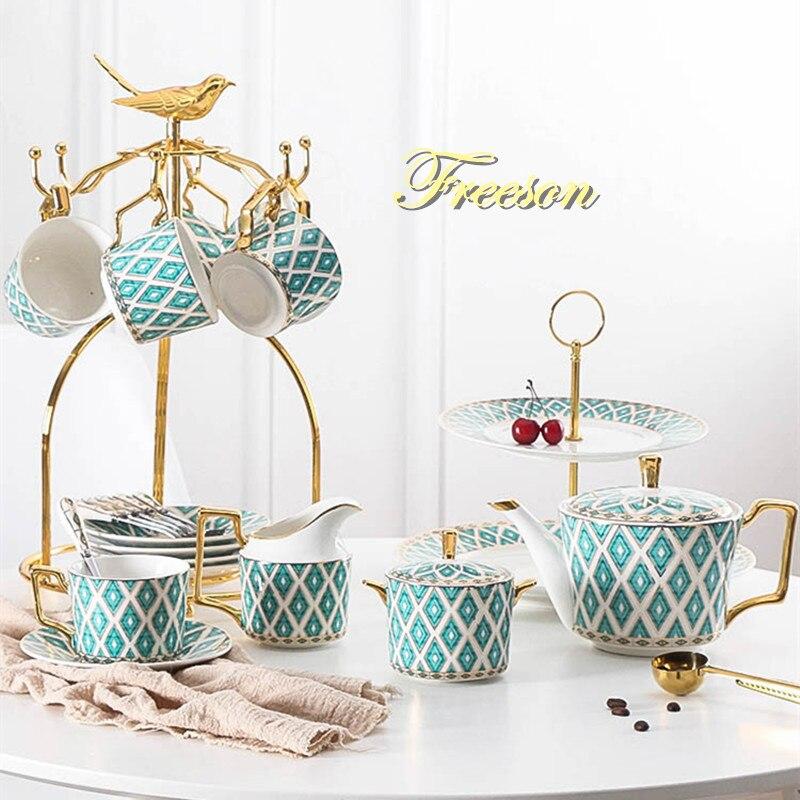 Gold Painted Bone China Coffee Set Luxury Porcelain Tea Set Advanced Pot Cup Ceramic Mug Sugar Bowl Creamer Teapot Milk Jug