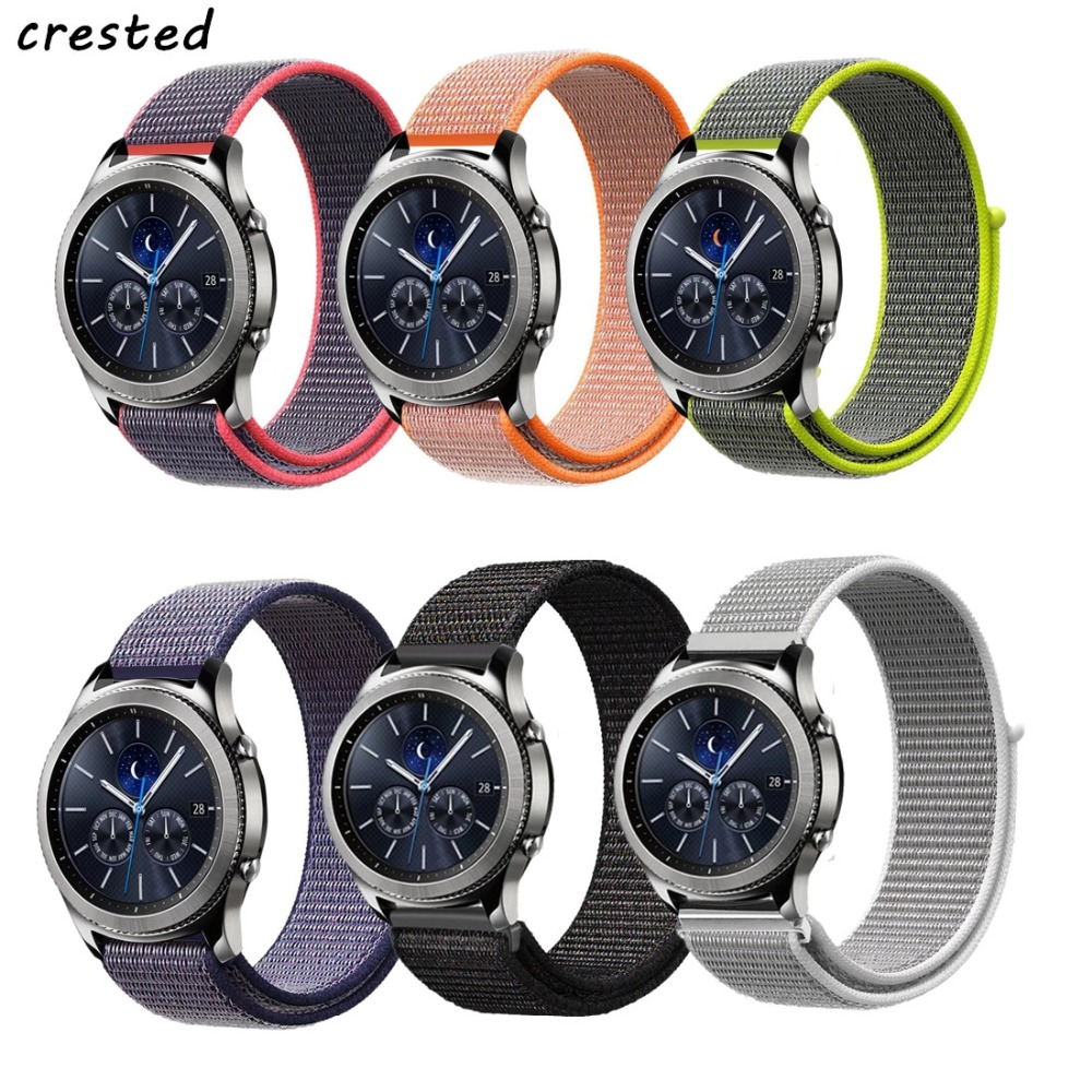 CRESTED Sport loop strap for samsung gear s3 frontier/classic band Bracelet smart watch nylon watchband for Xiaomi Huami Amazfit crested silicone strap for samsung gear s3 frontier rubber smart watch wristband