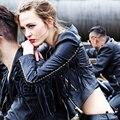 2016 Mujeres del Otoño Estilo de Marcas de Moda Borla de Cuero Genuino Real de piel de Oveja Chaqueta de La Motocicleta Chaqueta Corta Escudo de Calidad Superior