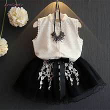 Girls Dress Summer New Sleeveless White Lace Shirt And Black Skirt Two Piece Suit Baby Princess Party Wedding Dress CostuWM-054