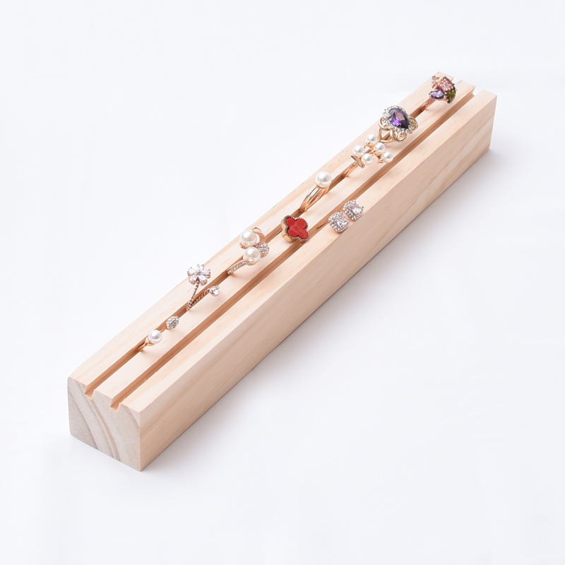New Fashion Long Solid Wood Ring Earrings Display Tray Jewelry Display Tray Jewelry Display Holder Ring Display Rack