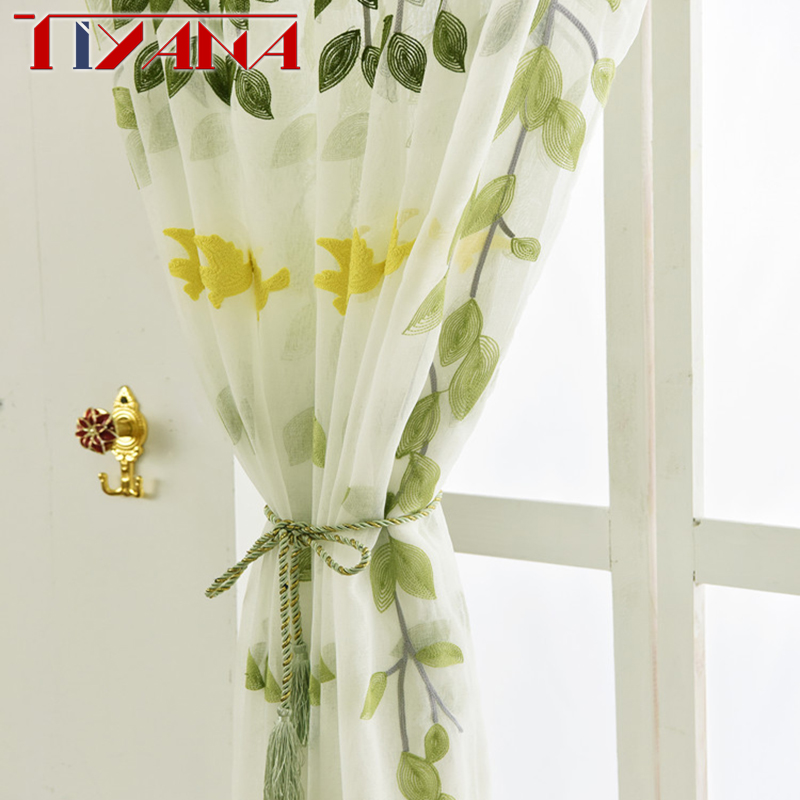 Embroidered Green Willow Leaves Tulle Curtains For Living Room Embroidery Sheer Green Tree White Curtains For Bedroom Wp272&2