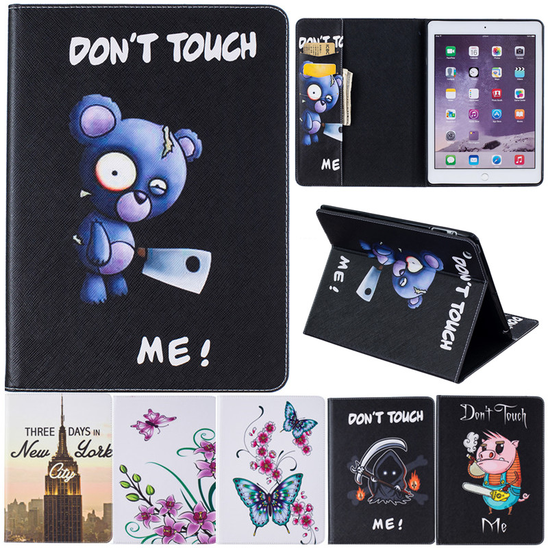 Cartoon Stand Leather cover for Apple ipad Mini 4 Mini4 Tablet Case Animal Bear Pig Butterfly Flower Wind chime Iron Tower for apple ipad mini 4 tablet case pu flip leather stand cartoon animal owl cat cover for ipad mini 4 fundas coque