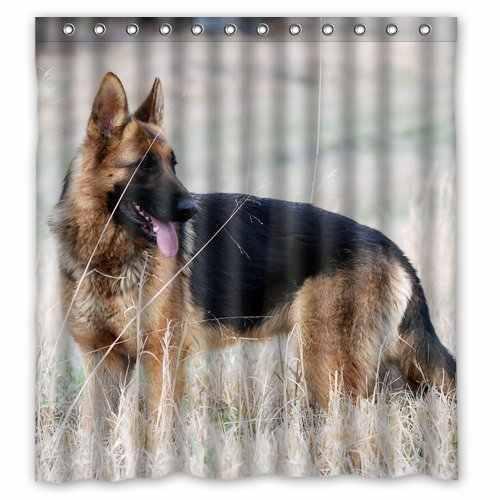 البوليستر حمام الستائر طباعة قوية الحيوانات الأليفة الألمانية الراعي الكلب الحمام دش الستار مع Ringss