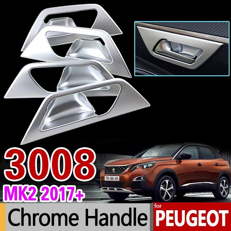Luxurious Chrome Interior Handle Cover for Peugeot 3008 II 2017 2018 2019 MK2 2nd Gen 3008GT GT Accessories Stickers Car Styling брызговики передние и задние кроме gt для peugeot 3008 2017