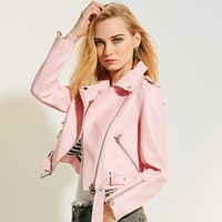Steelsir New Spring Autumn Pink Women S Short Washed PU Leather Jacket Zipper Slim Fit Motorcycle
