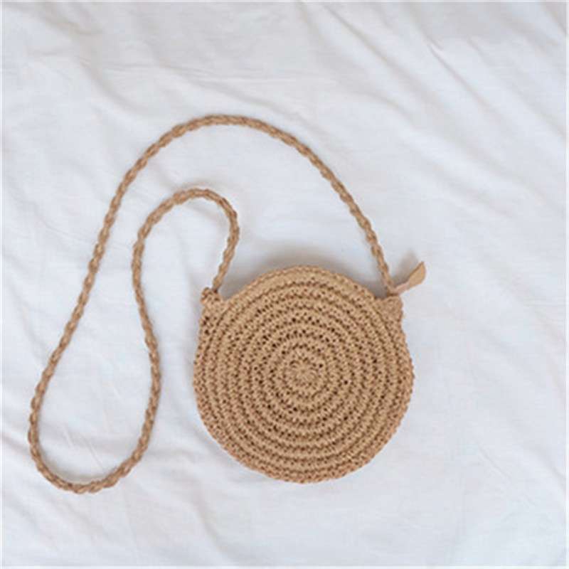New Fashion Women Ladies Girl Hand Woven Bag Round Solid Tassel Rattan Straw Bohemia Style Beach Circle Bags Messenger Bag