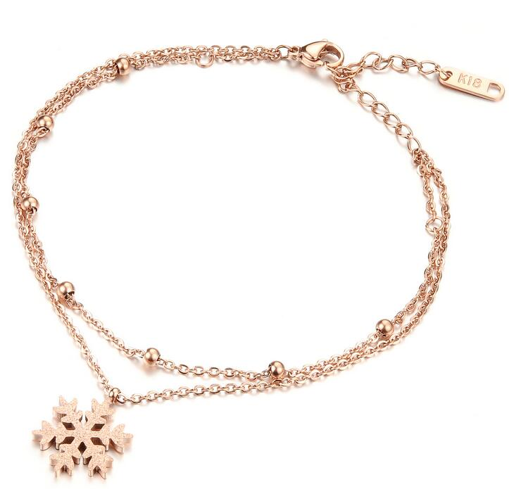 Double Layer Snowflake Rose Gold Plated Stainless Steel Women Anklet, Ladies Foot Chian Ankle Bracelet Jewelry Accessories,GZ019