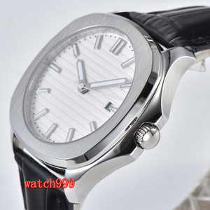 Image 3 - BLIGER 39 mm white dial sapphire glass date movement automatic mens watch stainless steel belt waterproof mechanical watch