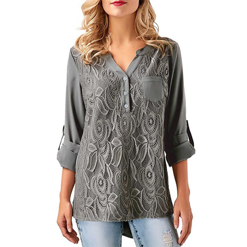 Women   Blouses   2018 Summer Lace Chiffon Casual Loose Tops Long Sleeve   Blouse     Shirt   Blusas Camisas mujer Plus Size 5XL