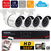 SUNCHAN 4CH CCTV System 960P AHD CCTV DVR 4PCS 1 3MP IR Outdoor Security Camera Camera