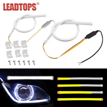 2pcs Silicagel Car Led Turn Signal Lights DRL Fexible Daytime Running 60cm White Yellow Flow 12v Waterproof CB